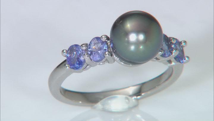 Cultured Tahitian Pearl & Tanzanite Rhodium Over Sterling Silver Ring