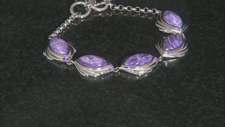 Purple charoite rhodium over silver bracelet