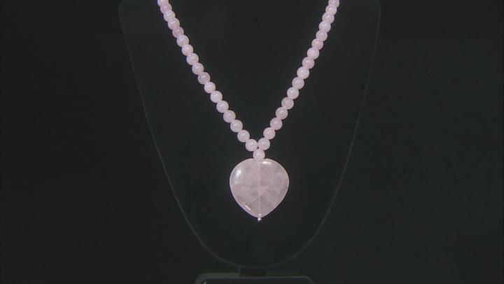Pink Rose Quartz 18k Rose Gold Over Sterling Silver Bead Necklace