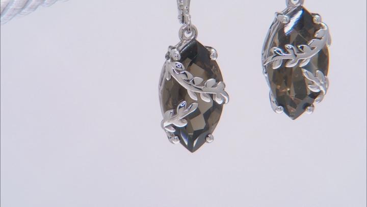 Brown Smoky Quartz Rhodium Over Silver Earrings 11.50ctw
