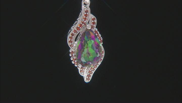 Multicolor Northern Lights(TM) Quartz Rhodium Over Silver Pendant With Chain 3.66ctw