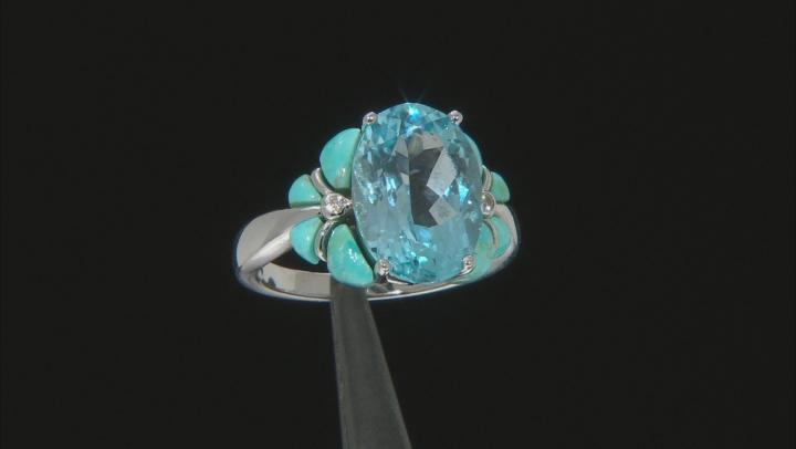 Sky Blue Topaz Rhodium Over Silver Ring 6.42ctw