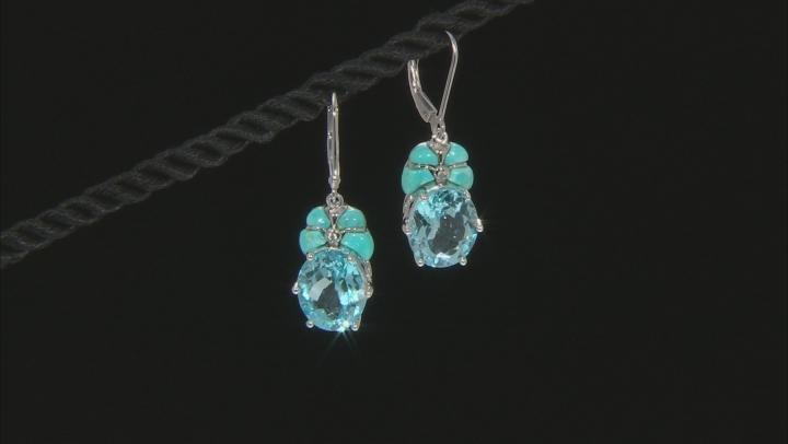 Sky Blue Topaz Rhodium Over Silver Earrings 11.25ctw