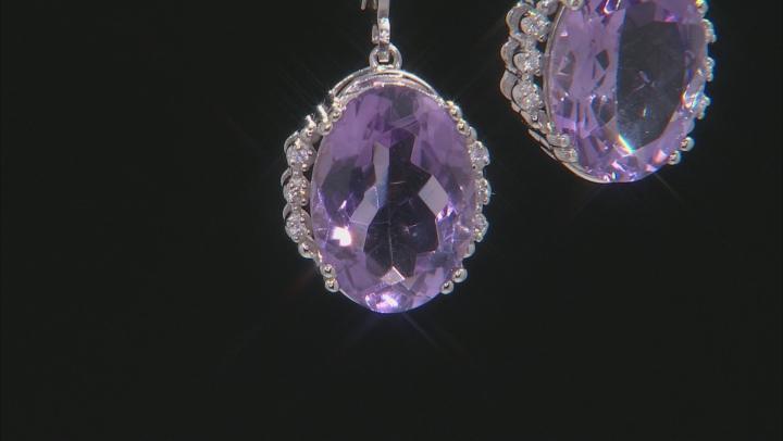 Purple Amethyst Rhodium Over Silver Earrings 10.08ctw