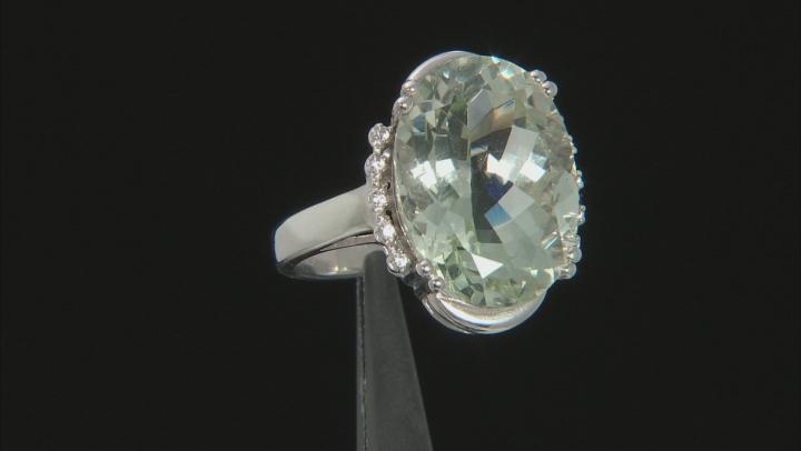 Green Prasiolite Rhodium Over Silver Ring 10.67ctw