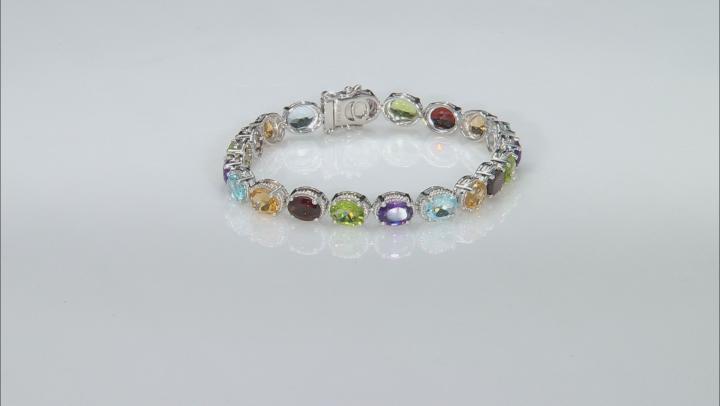 Multi-Color Gemstone Rhodium Over Silver Tennis Bracelet 20.84ctw
