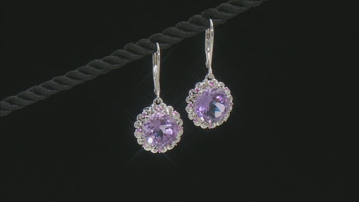 Purple Amethyst Rhodium Over Silver Earrings 6.09ctw