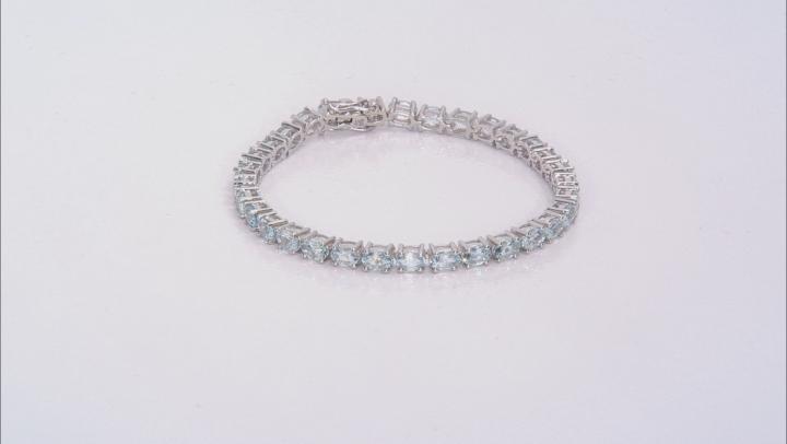 Blue Aquamarine Rhodium Over Silver Tennis Bracelet 10.35ctw