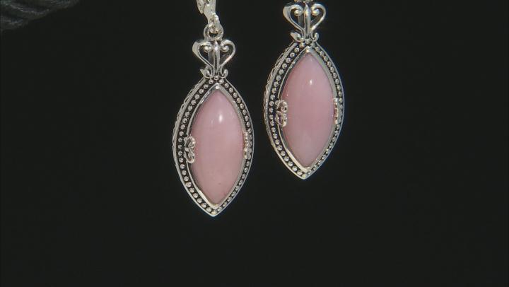 Pink opal rhodium over silver dangle earrings