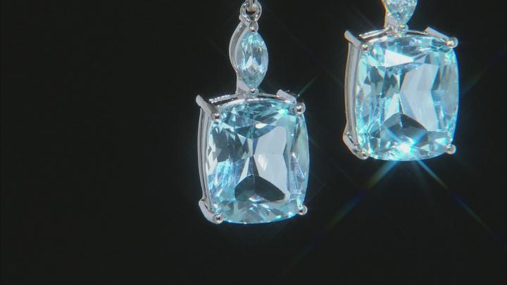 Blue Topaz Rhodium Over Silver Earrings 12.94ctw