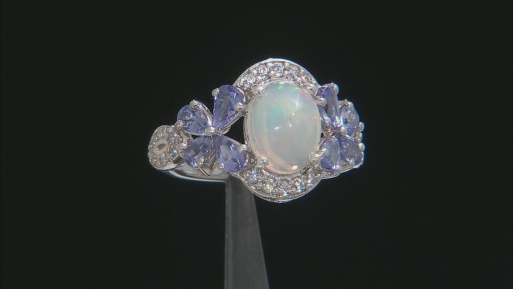 Multi-color Ethiopian Opal Rhodium Over Silver Ring 3.24ctw