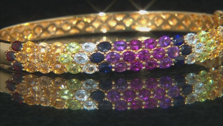 Multi-Color Gemstone 18k Yellow Gold Over Silver Bracelet 9.47ctw