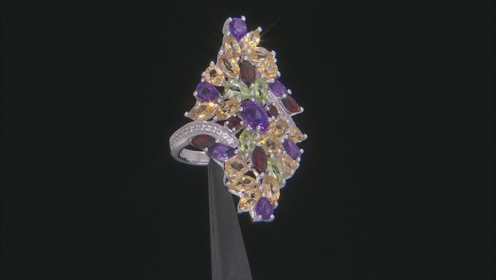 Multi-Color Gemstone Rhodium Over Silver Ring 4.64ctw