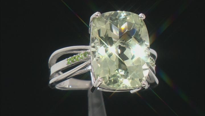 Green Prasiolite Rhodium Over Silver Ring 8.59ctw