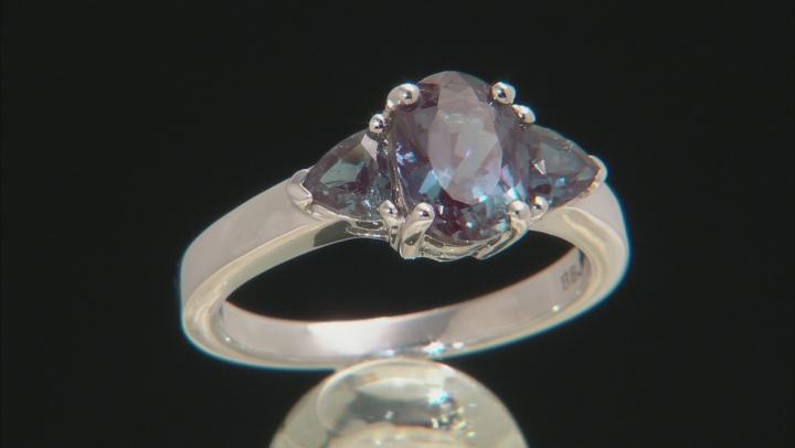 Blue Lab Created Alexandrite Rhodium Over Silver 3-Stone Ring 1.71ctw