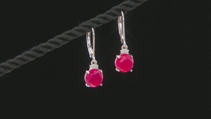 Pink Onyx Rhodium Over Silver Jewelry Set .39ctw