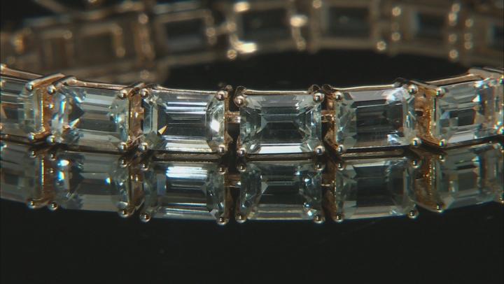 Green prasiolite 18k yellow gold over silver bracelet 18.61ctw