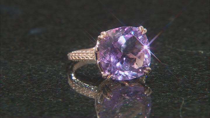 Purple Lavender amethyst 18k rose gold over silver ring 8.73ct