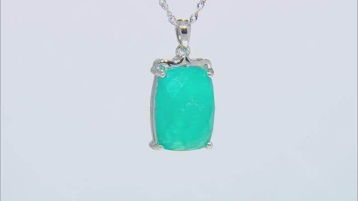Green Amazonite Rhodium Over Silver Pendant with Chain