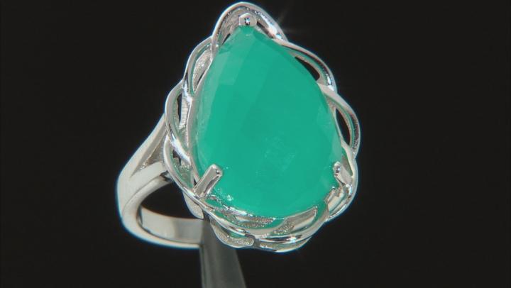 Green Amazonite Rhodium Over Silver Ring