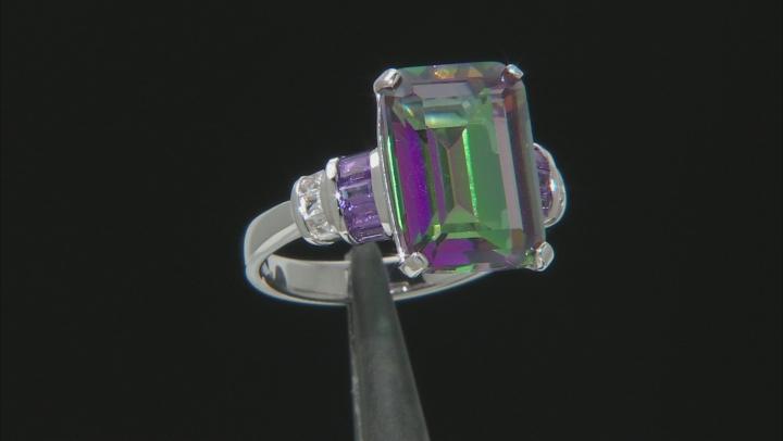 Multi Color Quartz Rhodium Over Sterling Silver Ring 6.77ctw