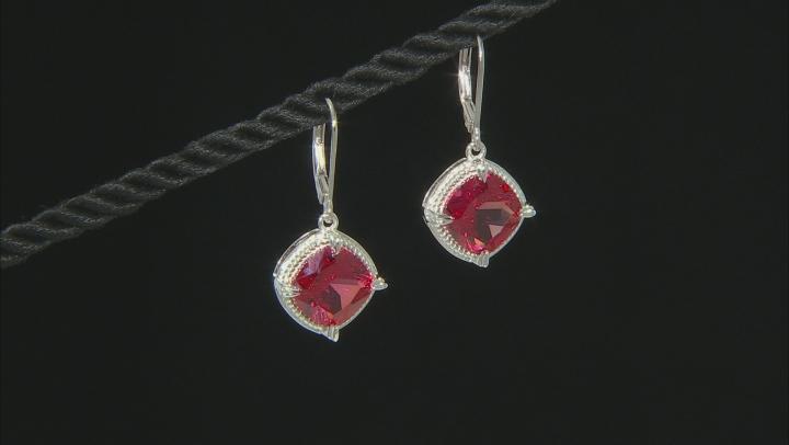 Orange Lab Created Padparadscha Sapphire Rhodium Over silver Earrings 8.30ctw