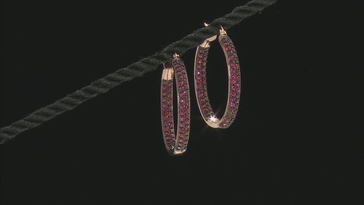 Raspberry Color Rhodolite 18k Rose Gold Over Silver Hoop Earrings 4.35ctw