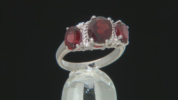 Red Garnet Rhodium Over Silver Ring 3.62ctw