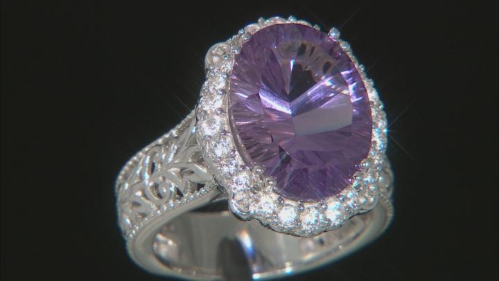 Purple Amethyst Rhodium Over Silver Ring 7.85ctw
