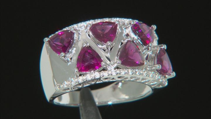 Purple Raspberry Color Rhodolite Rhodium Over Silver Ring 2.79ctw