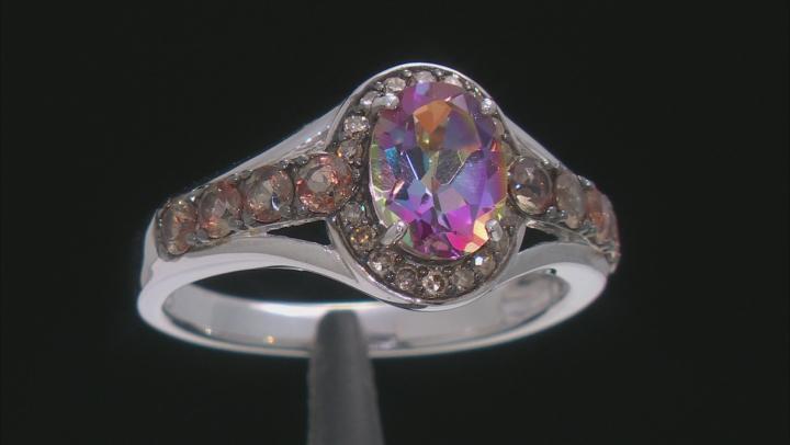 Multi-color Quartz Rhodium Over Sterling Silver Ring 1.49ctw