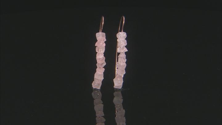 Pink rose quartz 18k rose gold over sterling silver earrings