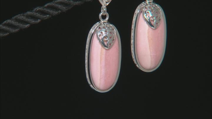 Pink Mookaite Rhodium Over Silver Dangle Earrings