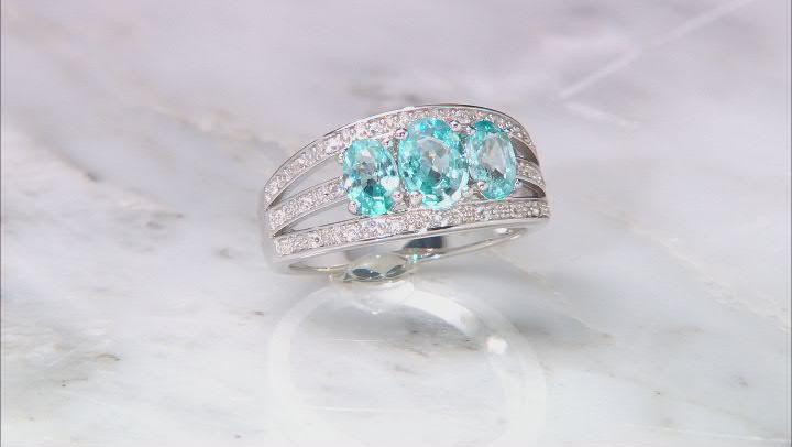 Blue Zircon Rhodium Over Silver Ring 2.44ctw