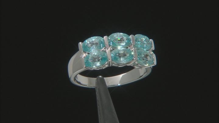 Blue Zircon Rhodium Over Silver Ring 4.75ctw