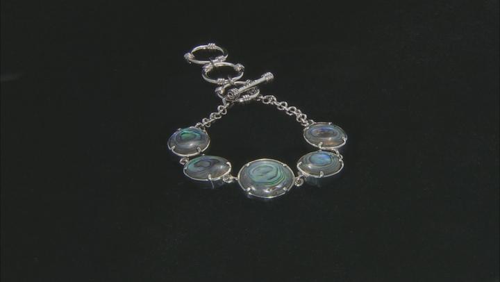 Blue Turquoise Rhodium Over Sterling Silver Reversible Bracelet