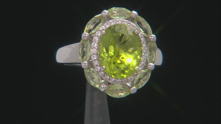 Green Peridot Rhodium Over Silver Ring 3.46ctw