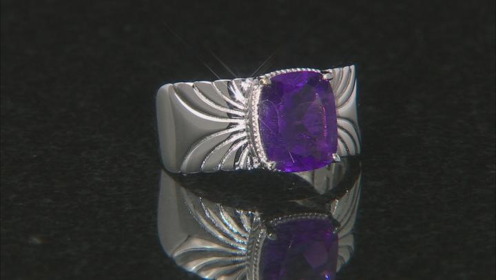 Purple Amethyst Rhodium Over Silver Ring 2.47ct