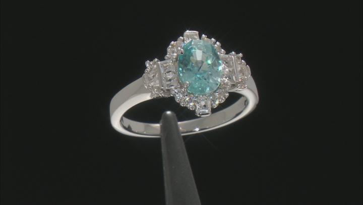 Blue zircon rhodium over sterling silver ring 2.22ctw