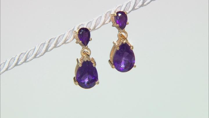 Purple amethyst 18k yellow gold over silver earrings 3.88ctw