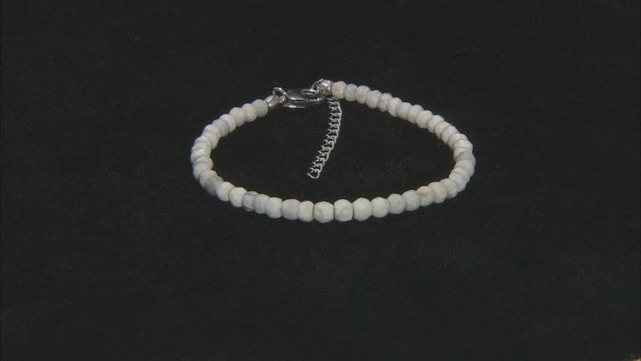 White howlite simulant bead strand sterling silver bracelet