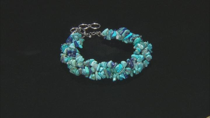 Multi-Gemstone Rhodium Over Sterling Silver Bracelet