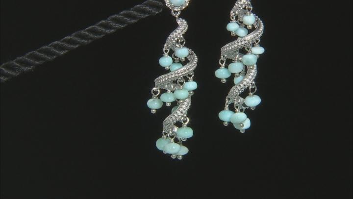 Blue Larimar Rhodium Over Silver Earrings .38ctw