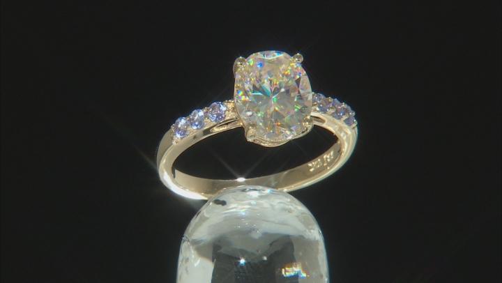 White Fabulite Strontium Titanate And Tanzanite 10K gold ring 3.51ctw