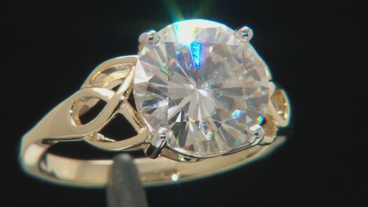 Moissanite 14k Yellow Gold Ring 4.75ct D.E.W