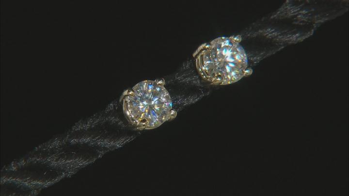 Moissanite 10k Yellow Gold Stud Earrings 1.00ctw DEW.