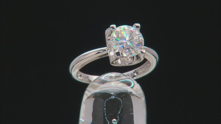 Moissanite 14k White Gold Ring 1.90ct DEW