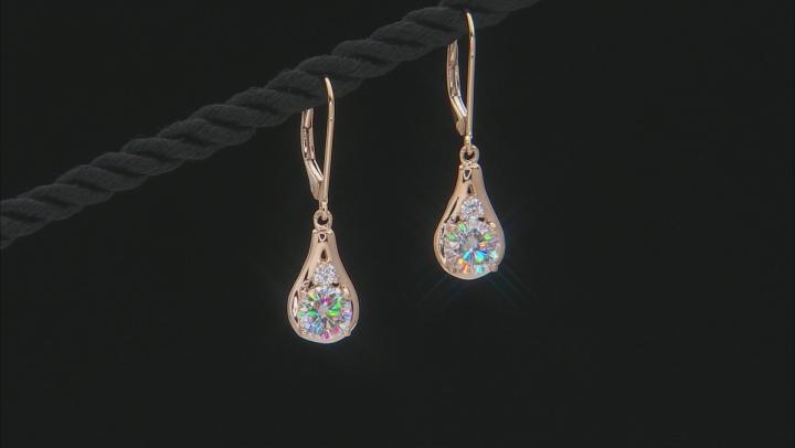 Moissanite 14k Yellow Gold Earrings 1.72ctw DEW.