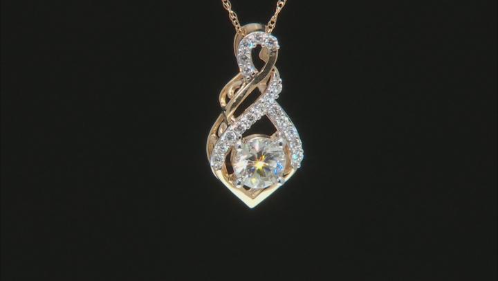 Moissanite 14k Yellow Gold Pendant .78ctw DEW