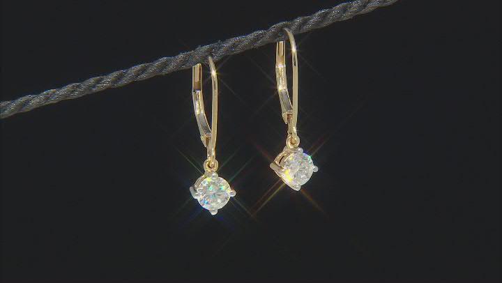 Moissanite 14k Yellow Earrings 1.00ctw DEW.